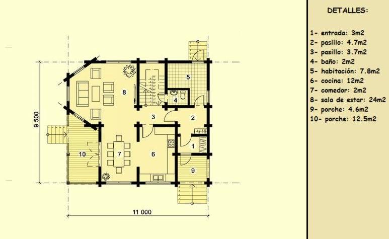 Casas de madera de 124 m2 + 22 m2 de terraza