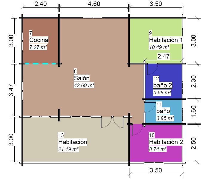 Casas de madera de de 79 m2. + 22 m2 porche