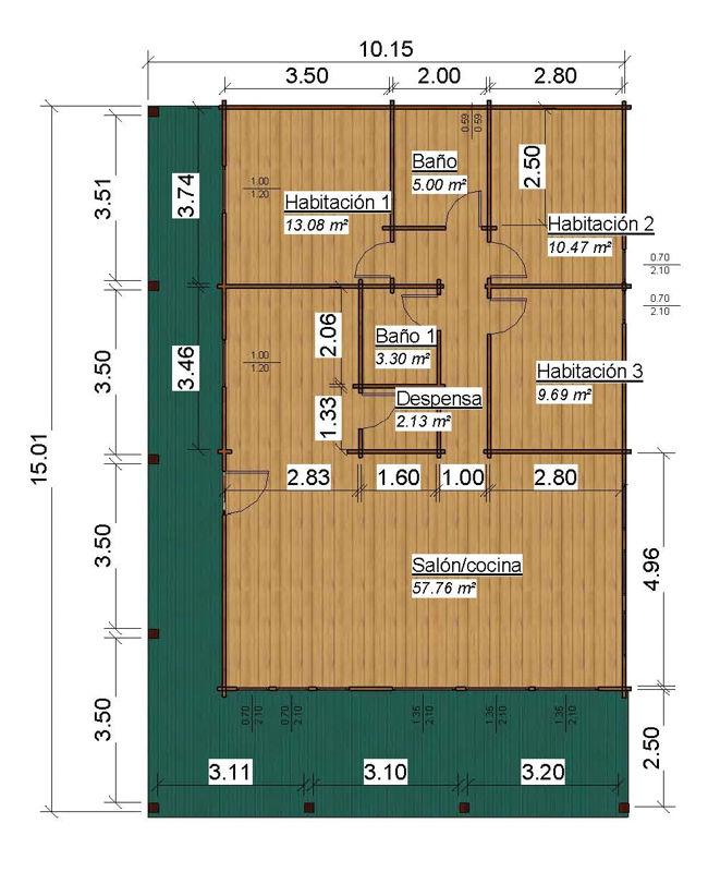 casas de madera de 100 m2. + 38 m2. de porche